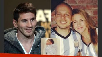 El regalo personal de Messi para Milo, el bebé de Fandiño y René Pérez. (Fotos: Web)