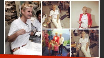 La donación de sangre de Xuxa. (Fotos: Facebook)