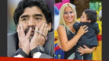Verónica Ojeda y Dieguito Fernando visitaron de sorpresa a Maradona (Fotos: Web).