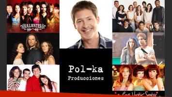 Adrián Suar y los artistas que participaron de las ficciones de Pol-ka en un gran festejo (Fotos: Web).