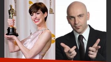 Anne Hathaway se negó a saludar al periodista Alexis Puig (Fotos: Web).
