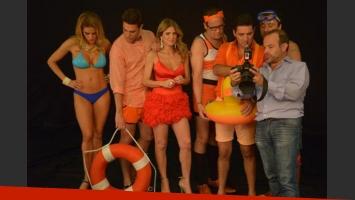 Vanina Escudero lució sus curvas junto al elenco de Los Bañeros (Foto: Twitter).