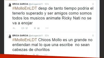 Erica García se molestó al saber que Ricardo Mollo no la mencionó en una entrevista (Fotos: Web).