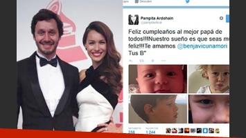 El saludo de Pampita para Benja Vicuña en Twitter. (Fotos: Web y Twitter)
