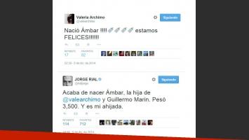 Valeria Archimó y Guillermo Martín ya son papás de Ámbar (Foto: Twitter)