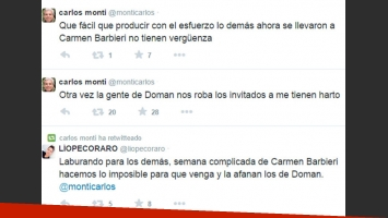 Los tweets de Carlos Monti contra Fabián Doman. (Foto: Twitter)