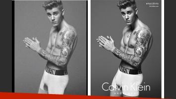 Justin Bieber, antes y después del presunto photoshopeado para la publicidad de Calvin Kein. (Foto: Breatheheavy.com)