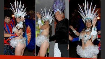 Carinara disfrutó a pleno del Carnaval del país junto a Andrés Nara. (Foto: Mariela Massetti Prensa)