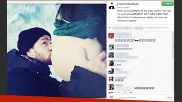 Justin Timberlake y la panza de Jessica Biel. (Foto: Instagram)