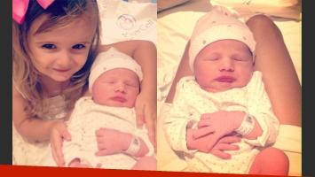 Melina Pitra dio a luz a su segunda hija, Indiana (Fotos: Twitter e Instagram).