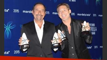 Suar y Francella, con sus premios por mejor actuación en comedia y el Oro. (Foto: @mardelplatamdp)