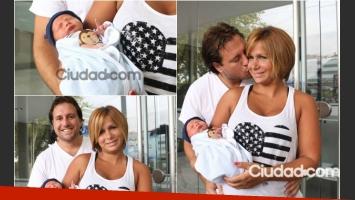 Fernanda Vives y Sebastián Cobelli presentaron a Rocco al dejar la clínica. (Foto: Movilpress)