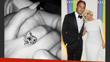 El impactante anillo de compromiso de Lady Gaga. (Fuente: web)