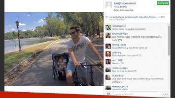 Benjamín Vicuña paseó a sus hijos por Palermo en un simpático remolque. (Foto: Instagram)