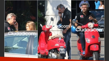 Mauricio D Alessandro lució una Vespa roja, en la salida de un conocido restaurante, y se confesó fanático de la marca. (Foto: Movilpress)