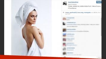 Keira Knightley, una de las estrellas que se animó a posar en toalla (Foto: Instagram).