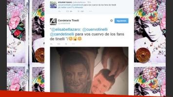 La reacción de Candelaria Tinelli al ver la cara de su papá tatuada en una fan (Foto: Twitter).