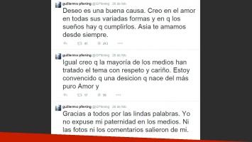 Guillermo Pfening fue padre con su mejor amiga: su descargo en Twitter (Foto: Twitter)