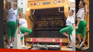 Laurita Fernández y Virginia Gallardo fueron dos recolectoras de residuos sexies por un día. (Fotos: @laufer4)