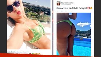 El pícaro y sexy tweet de Lourdes Sánchez. (Fotos: Twitter)