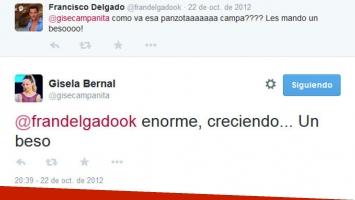 Los tweets entre Gisela Bernal y Francisco Delgado. (Foto: Twitter)