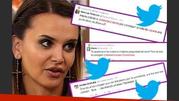 Las repercusiones en Twitter de la nota de Granata a Gisela Bernal. (Fotos: Web y Twitter)
