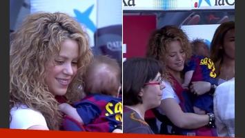 Shakira llevó a su hijo más pequeño a la cancha (Foto: Captura)
