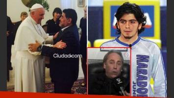 Diego Maradona, Diego Junior y el abogado del joven, Alberto Domínguez (Foto: Ciudad.com y Web)