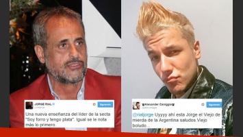El filoso cruce entre Jorge Rial y Alexander Caniggia (Fotos: Web y Twitter).