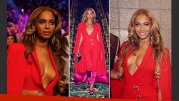 """El súper escotazo de Beyoncé en la """"Pelea del Siglo"""" entre Floyd Mayweather y Manny Pacquiao. (Foto: Instagram)"""