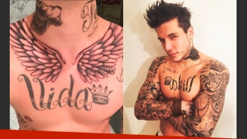 Alexander Caniggia y su tatuaje de alas, antes y después. (Foto: Instagram)