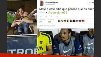 El pedido twittero de Jimena Barón durante el Superclásico. (Fotos: Twitter y Web)