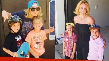 Britney Spears junto a sus skaters favoritos: sus hijos. Foto: Instagram
