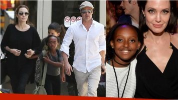 Brad Pitt y Angelina Jolie junto a su hija Zahara. Foto: Web