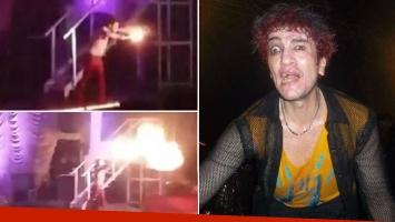Pity Álvarez, detenido por lanzar llamaradas de fuego en pleno show. (Foto: Web y captura)