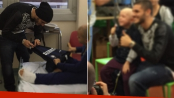 Mauro Icardi y Wanda Nara visitaron a niños en un hospital (Foto: Instagram)