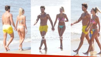 Las fotos de Melina Lezcano con su novio rugbier en las playas de Punta. (Foto: MSnews)