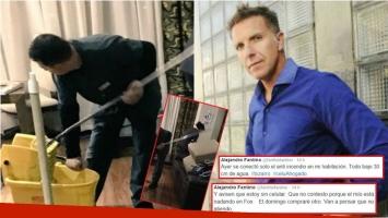 El accidente doméstico que sufrió Alejandro Fantino en Colombia (Fotos: Twitter y Web)