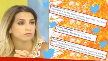 Los tweets de Cinthia Fernández, indignada con la familia de su agresor, tras ser declarado inimputable (Fotos: Web)