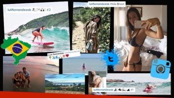 Luli Fernández, una diosa surfera en las playas del Atlántico. Fotos: Twitter e Instagram.