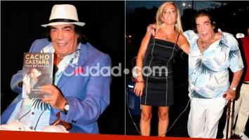 Cacho Castaña presentó su biografía acompañado de su joven novia. Foto: Movilpress