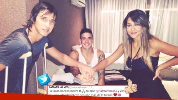 Tamara Álves publicó una foto de Pato Toranzo junto a su compañero Diego Mendoza, rehabilitándose en su casa (Foto: Twitter)