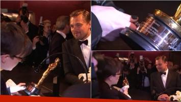 Leonardo DiCaprio, emocionado mientras le grababan su Oscar. Foto: Captura