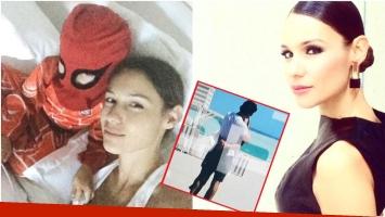 El tweet de Pampita mientas difundían las imágenes de la China y Vicuña a los besos en Miami (Fotos: Twitter y Captura de Primer Plano)