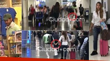 Benjamín Vicuña (con gorrito) y la China Suárez, de la manito y a puro mimo en el aeropuerto de Miami. (Fotos: Ciudad.com)