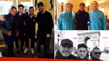 Marcelo Tinelli, Francisco, y el Tirri viajaron a París para ver al Kun Agüero. Foto: Twitter e Instagram