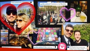 El romántico encuentro de Marcelo Tinelli y Guille Valdés en Barcelona. Fotos: Twitter e Instagram