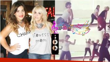 Claudia Villafañe y Gianinna Maradona, a puro ritmo en una clase de baile (Fotos: Web y Captura)
