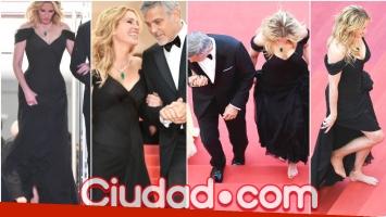 Julia Roberts recorrió la alfombra roja del Festival de Cannes descalza (Fotos: AFP)