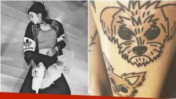Candelaria Tinelli se tatuó las caras de sus perros en la pierna (Fotos: Instagram)